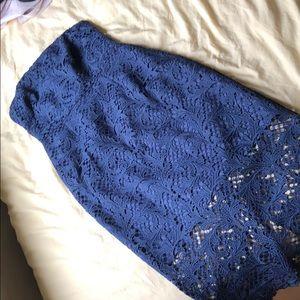 Blue strapless lace dress